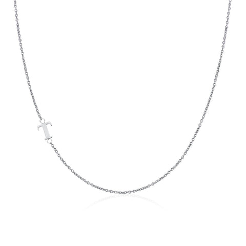.925 Sterling Silver Sideway Letter T Necklace (18k white gold plating)
