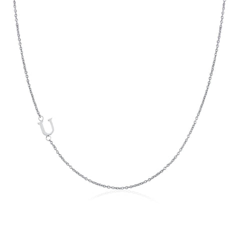 .925 Sterling Silver Sideway Letter U Necklace (18k white gold plating)