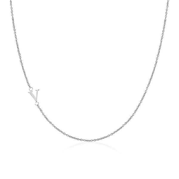 Moody Mood-Accessories-.925 Sterling Silver Sideway Letter V Necklace (18k white gold plating)