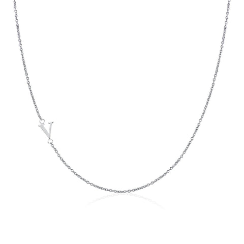.925 Sterling Silver Sideway Letter V Necklace (18k white gold plating)