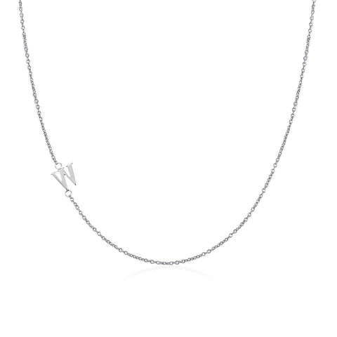 .925 Sterling Silver Sideway Letter W Necklace (18k white gold plating)