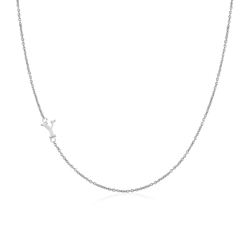 Moody Mood-Accessories-.925 Sterling Silver Sideway Letter Y Necklace (18k white gold plating)