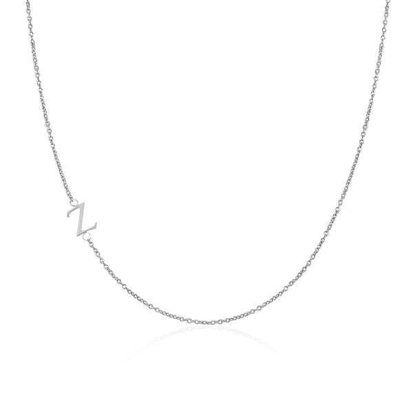 Moody Mood-Accessories-.925 Sterling Silver Sideway Letter Z Necklace (18k white gold plating)