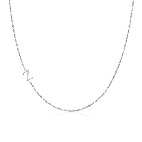 .925 Sterling Silver Sideway Letter Z Necklace (18k white gold plating)