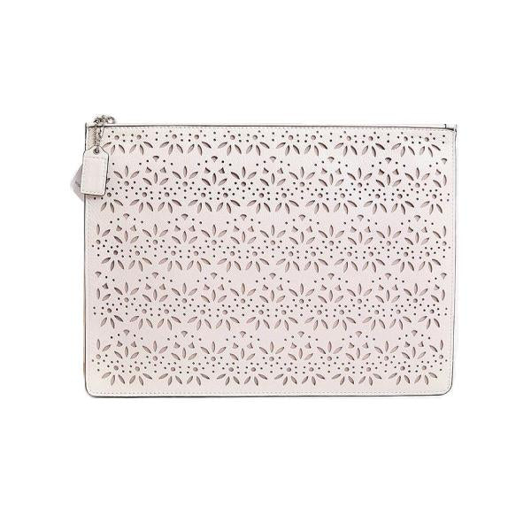 Coach-Handbags-Coach Taylor Eyelet Leather Clutch, Ivory