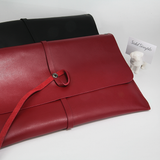 Made in Korea-Clutches-Korea Two Way Leather Envelope Bag, Red