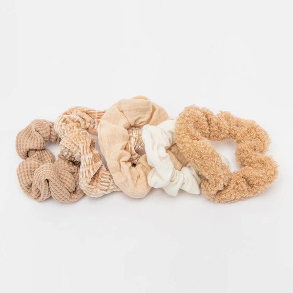Assorted Textured Scrunchies・Sand