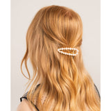 Pearl Open Shape Barrette Gold