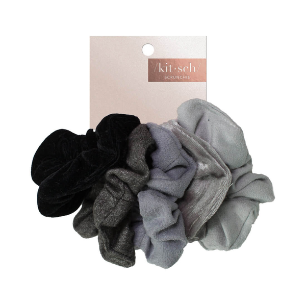 Velvet Scrunchies・Black/Gray