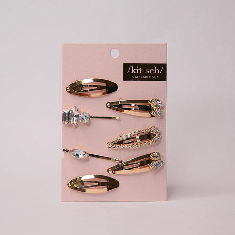 KITSCH-HAIR ACC-Micro Stackable Snap Clip 7PC・Gold