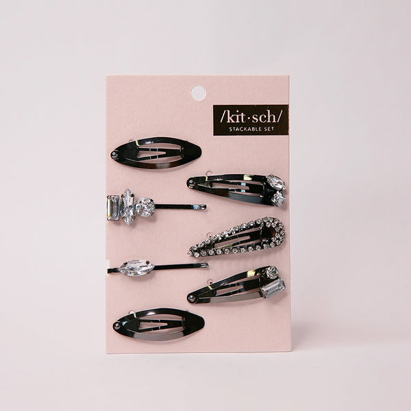 KITSCH-HAIR ACC-Micro Stackable Snap Clip 7PC・Hematite