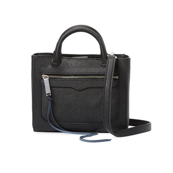 Rebecca Minkoff-Handbags-Avery Mini Leather Top Handle, Crossbody Black