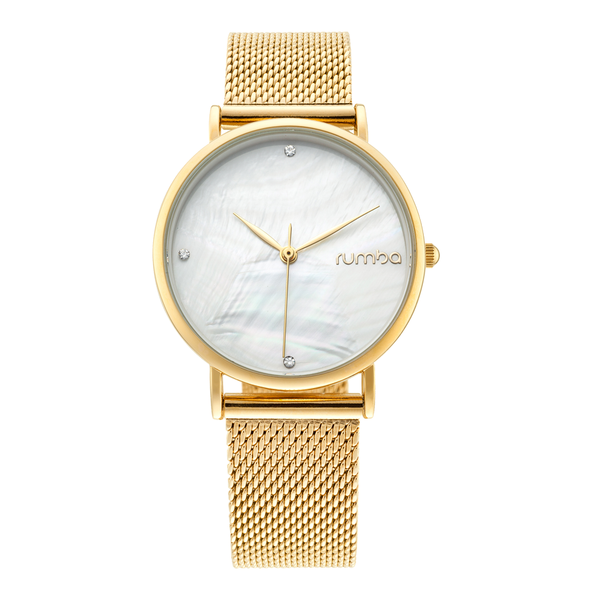 RumbaTime-Watches-Lafayette Gold Mesh