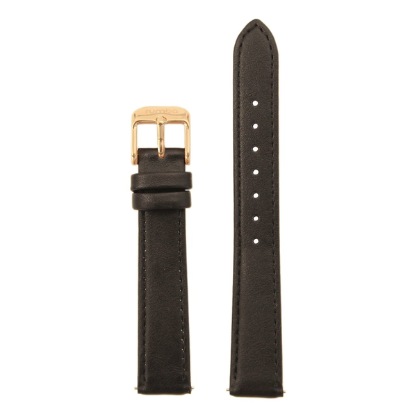 RumbaTime-Straps-Lafayette Black/Rose Gold Leather Strap