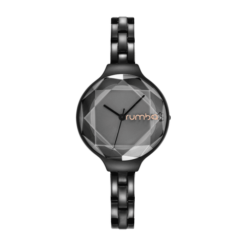 RumbaTime-Watches-Orchard Gem Stainless Steel Watch - Black Diamond