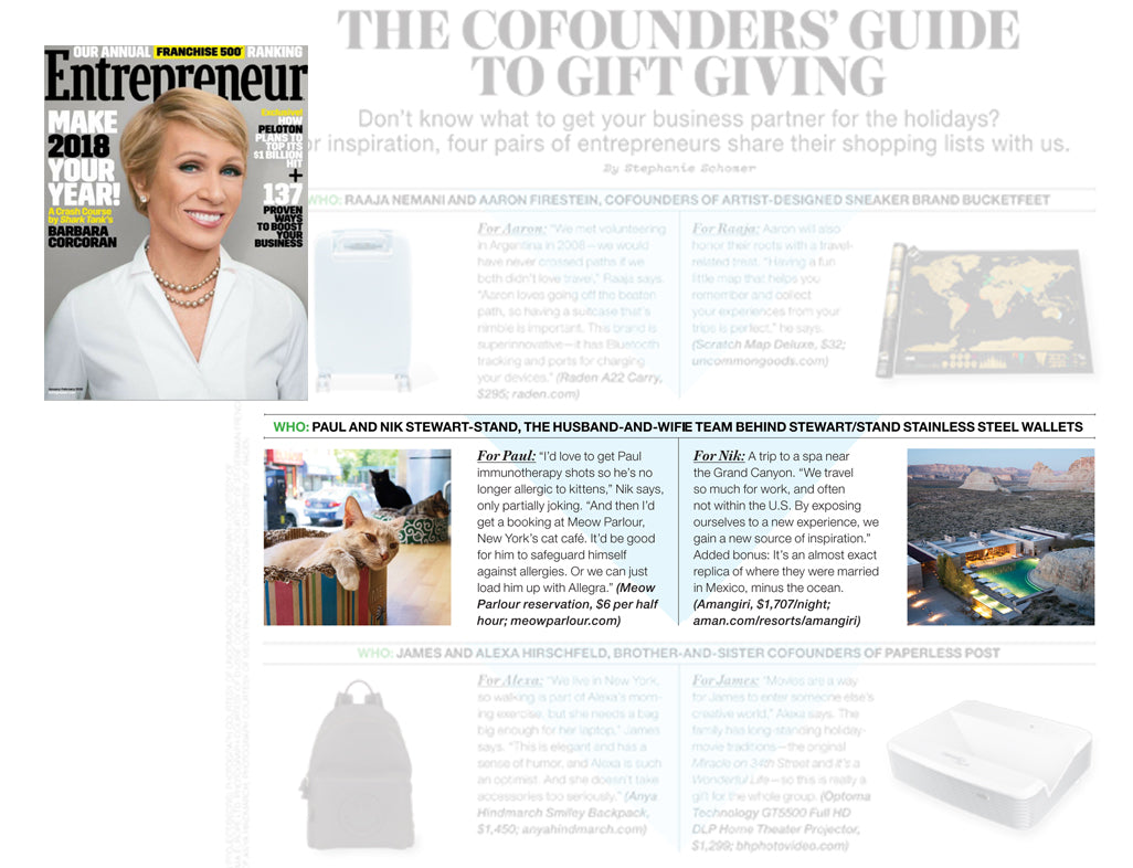 PRESS // ENTREPRENEUR : GUIDE TO GIFTING – STEWART/STAND®