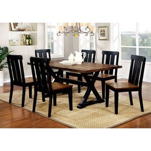 Shalee Farmhouse Style Twotone Antique Oak Black Inch Dining - 68 inch dining table