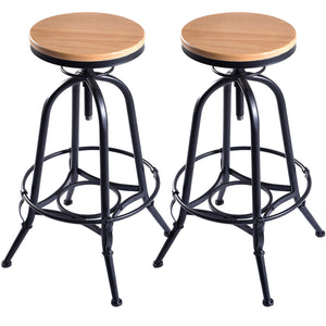 Phenomenal 2 Vintage Bar Stools Industrial Metal Design With Wood Top And Adjustable Swivel Bralicious Painted Fabric Chair Ideas Braliciousco