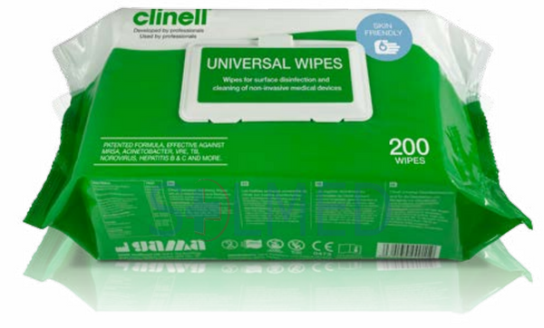 CLINELL UNIVERSAL SANITISING WIPES (PACK OF 200)