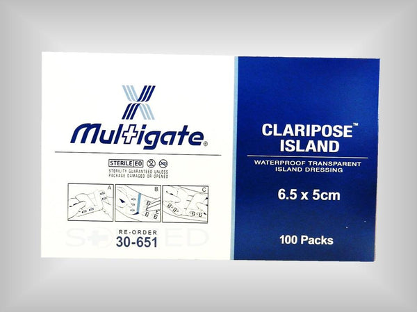 6.5CM X 5CM WATERPROOF WOUND DRESSING STERILE WITH 2.5CM X 3.7CM NON-ADHERENT WOUND PAD BOX 100Waterproof Island Dressing, Wound Dressing, Island Dressing, Claripose, Claripose Island Dressing, Multigate Dressing, Hospital Dressing