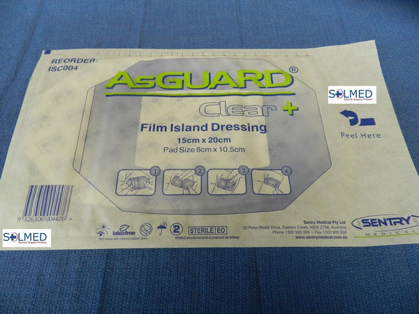 AsGUARD® CLEAR PLUS TRANSPARENT WATER RESISTANT FILM DRESSING WITH PAD 15CM X 20CM X 1