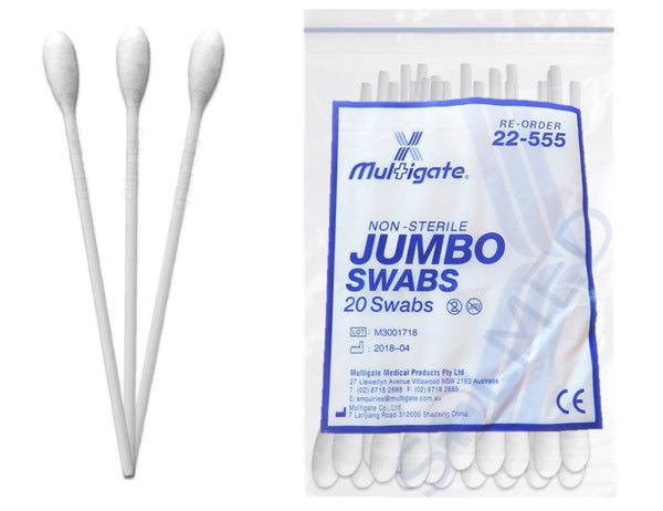 JUMBO MOUTH & THROAT SWABS 18CM FIRST AID COTTON TIPS (PACKET 20) x 1