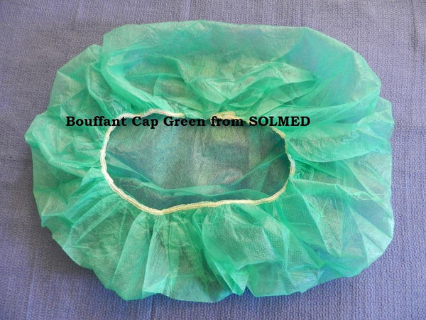 GREEN BOUFFANT CAPS BOX 250