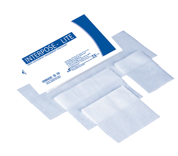 DRESSINGS FIRST AID INTERPOSE® LITE NON-ADHERENT STERILE  7.5cm x 7.5cm x Box100