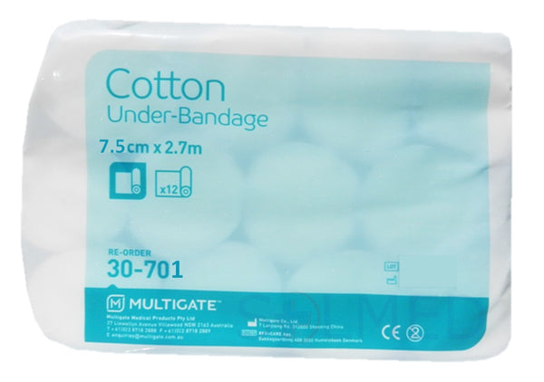 PREMIUM ORTHOPAEDIC UNDER BANDAGE 100% COTTON 7.5CM X 2.7M X 12