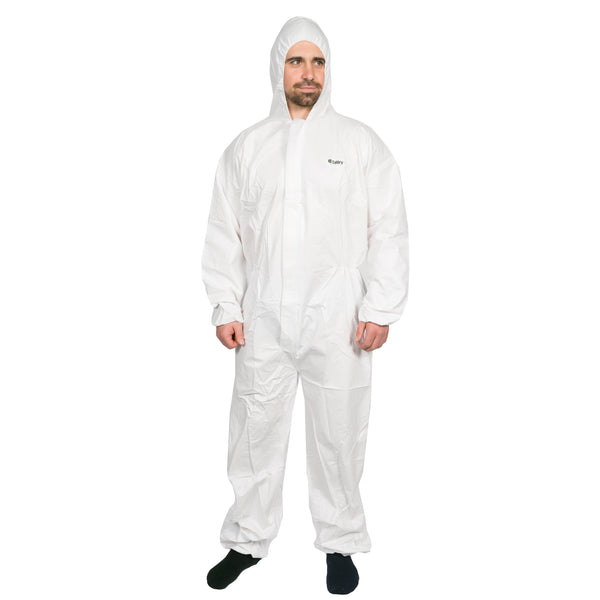 HI CALIBRE PROTECTIVE DISPOSABLE COVERALLS MICROPOROUS WHITE (LARGE SIZE) OVERALLS X 1