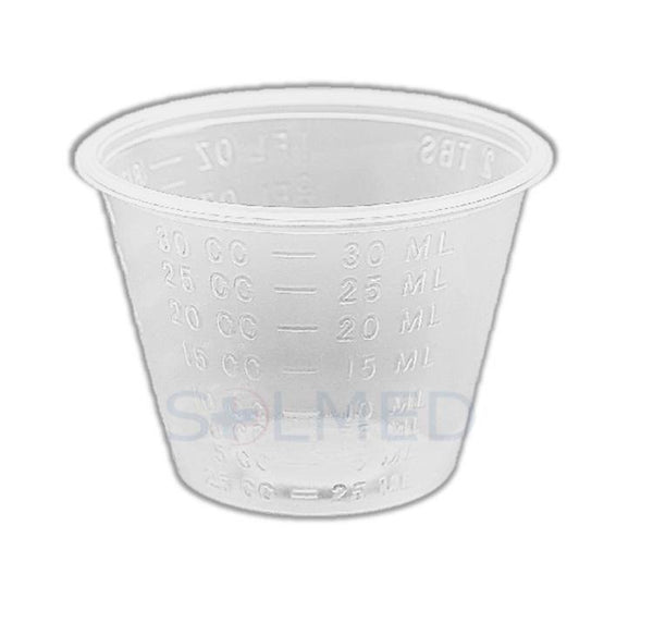 MEDICINE CUPS MEASURE CUP 30ML CLEAR CALIBRATED X 100