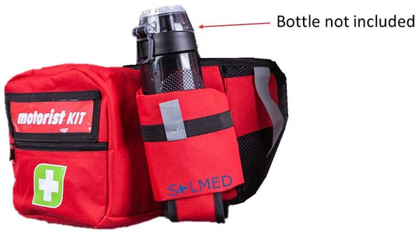 FIRST AID KIT TRAVELER 186 PIECE RED BUM BAG WITH BOTTLE HOLDER X 1