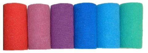 COHESIVE BANDAGE 10CM x 4.7M ASSORTED COLOURS X6