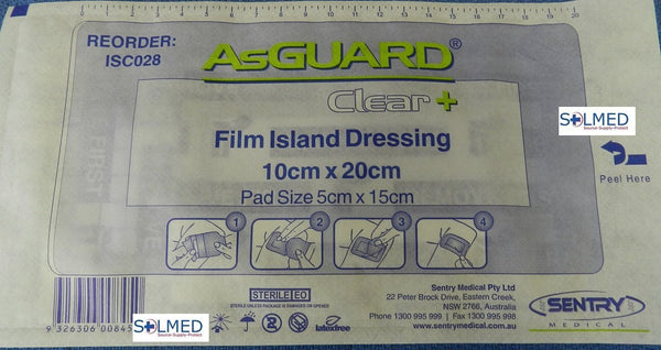 AsGUARD® CLEAR PLUS TRANSPARENT WATER RESISTANT FILM DRESSING WITH PAD 10CM X 20CM X 1