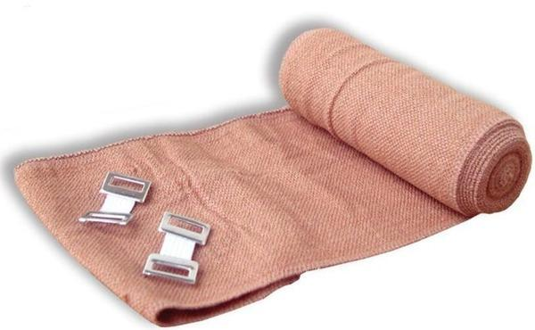 BANDAGE COMPRESSED ELASTIC CREPE TAN HEAVY DUTY 10cm x 1.5m STRETCH 4M x 12