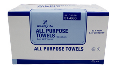 MEDICAL INDUSTRIAL ALL PURPOSE ECONOMY LOW LINT TOWEL WIPES LARGE SIZE 60cm x 35cm BOX 100