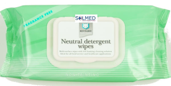 NEUTRAL DETERGENT WIPES LARGE 22CM X 33CM ALCOHOL FREE NON TAINTING RESEALABLE PACK OF 50