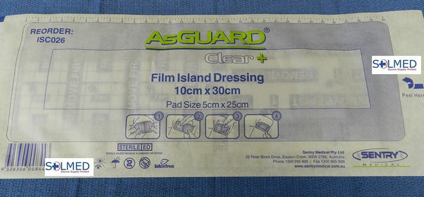 AsGUARD® CLEAR PLUS TRANSPARENT WATER RESISTANT FILM DRESSING WITH PAD 10CM X 30CM X 1