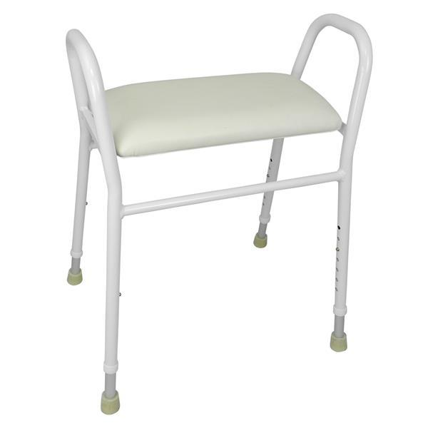 ALUMINIUM SHOWER STOOL WITH PADDED SEAT