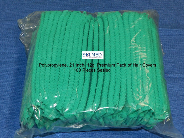 SURGICAL & FOOD PREP CRIMPED CAPS HAIR HEAD COVERS GREEN X 100