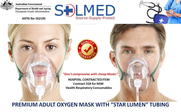 OXYGEN MASK ELONGATED ADULT WITH NON KINK STAR LUMEN 210CM TUBING