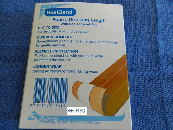 HEALBAND BANDAID FABRIC DRESSING LENGTH WITH NON ADHERENT PAD 7.5CM x 1M
