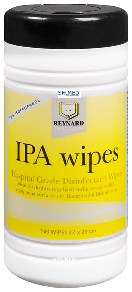 ALCOHOL IPA WIPE 20CM X 22CM HOSPITAL GRADE BACTERICIDAL DISINFECTANT TUB OF 160