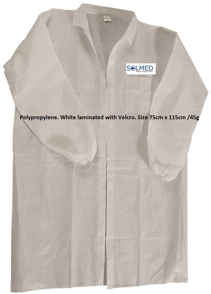 PROTECTIVE DISPOSABLE LAB COAT DUST COAT POLYPROPYLENE X 1 WHITE