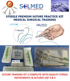 SUTURE TRAINING PACK No 2 STERILE MEDICAL VET NURSE PARAMEDIC WITH USP 3 & 4 SUTURES X 1