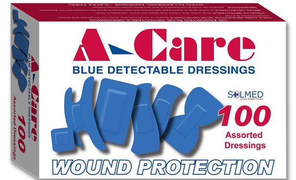 A-CARE BLUE DETECTABLE BANDAIDS ASSORTED STRIP PLASTERS, Food Safe Bandaids, Bandaids, Adhesive Plasters, Blue Bandages, Food Industry Bandaids, Detectable Bandaids