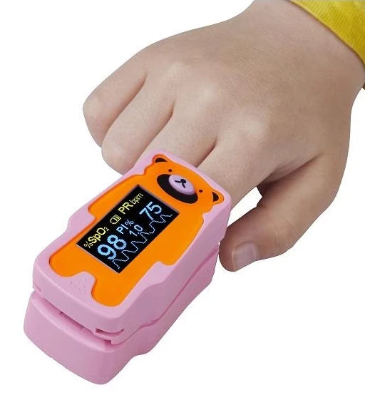 CHILD PULSE OXIMETER OLED DUAL COLOUR SPO2, PULSE RATE, PULSE BAR, PLETHYSMOGRAM,PERFUSION INDEX & ALARM X 1