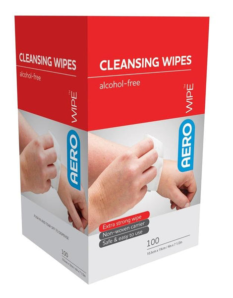 FIRST AID ALCOHOL FREE CLEANSING WIPES 1% CETRIMIDE 0.02% CHLORHEXIDINE BOX 100