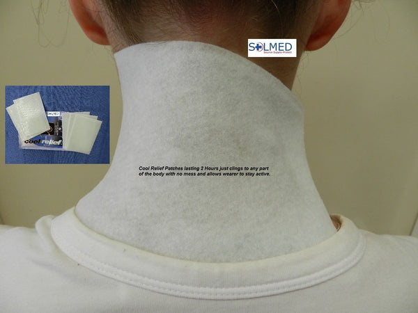 Description: Migraine relief, provides soothing relief from the pain of: muscle soreness; sprains and strains; minor bruises and swelling; aches and tiredness; overheating and sunburn. Cooling effects can be felt after ten minutes and will last over two hours. Each patch measures 140mm x 100mm.