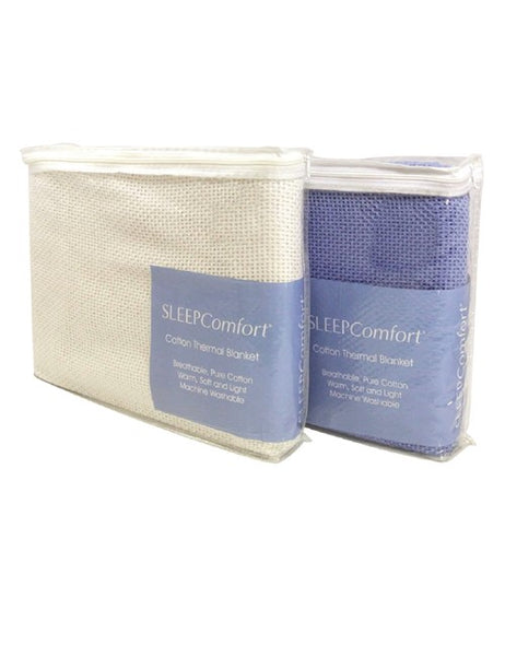 SLEEP COMFORT CELLULAR MEDICAL BLANKET COTTON SINGLE, BLUE WASHABLE